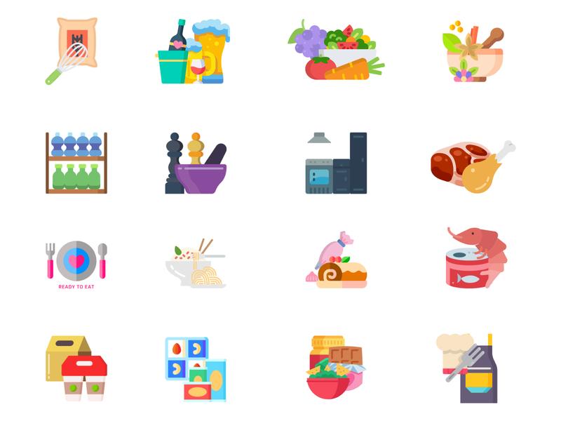 Food Icon Set uiux design ui graphic design adobe xd branding icondesign vector design design ui  ux design illustration