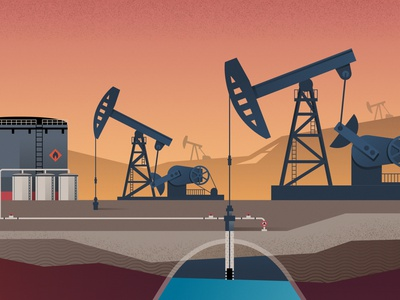 Oil industry editorial illustration refinery energy business pumping drilling extraction oil production oil industry flat vector illustration