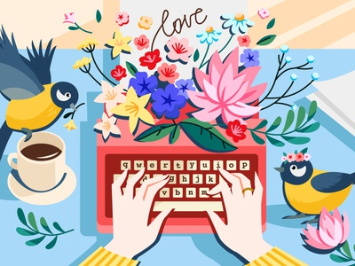 Love letters flowers typewriter game flat coloring book illustration vector