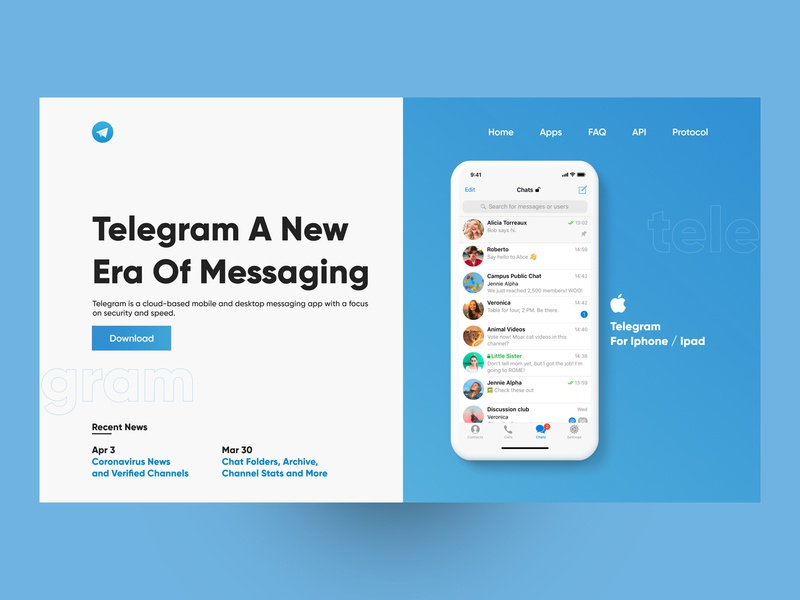 Telegram Messenger Website Re-Design