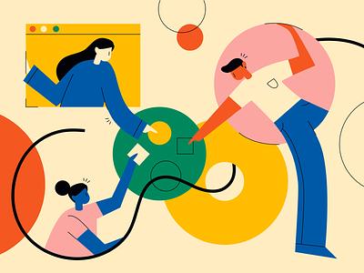 Confluencing - Illos online digital communication shapes confluence collaborative collaboration people illustration people website branding design brand vector colours illustration