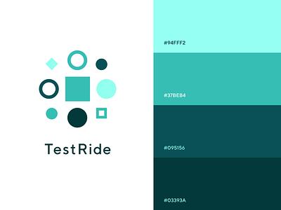 TestRide - Logo and Color Palette pixel pantone testing ui brand design color palette app logo branding design brand vector colours