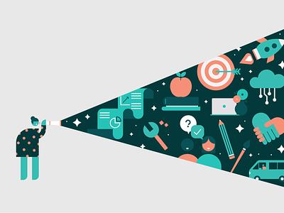 Company handbook explore fun company object design brand colours vector illustration illustrator space