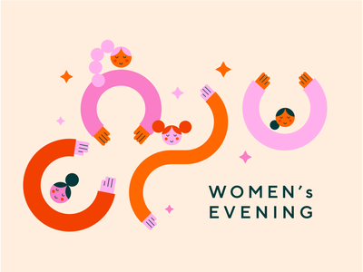 Women's evening womens day cute girls woman banner women vector colours illustration