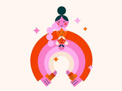 Women support women hug women in illustration womens day women empowerment support woman women vector colours illustration