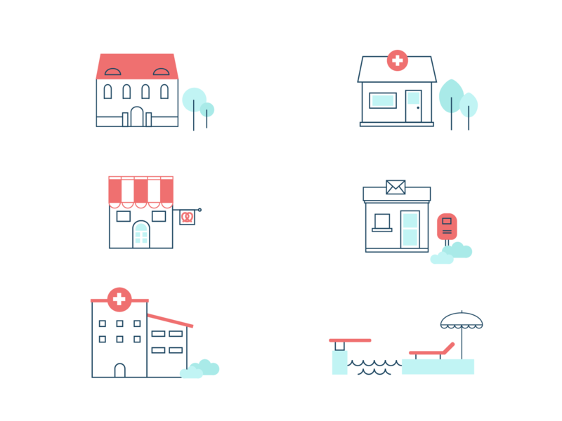 Little buildings of Freyung brand icons design illustration colours