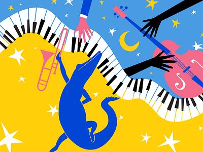fat fête night stars moon louisiana new orleans mardi gras festival jazz fest music jazz animal object icon branding design vector illustration brand colours