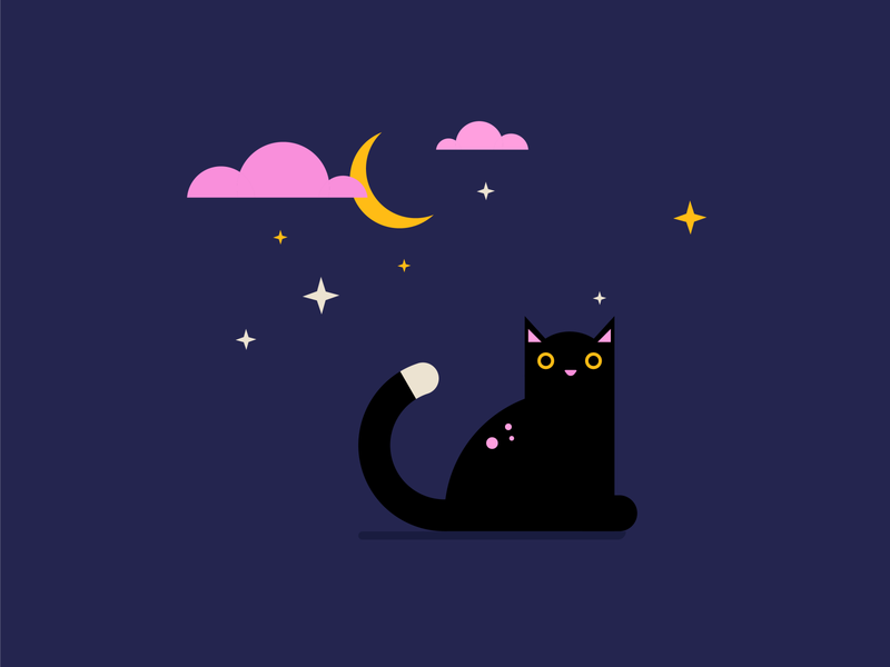 Halloween moon night magic animal icons object icon design vector illustration colours cat halloween