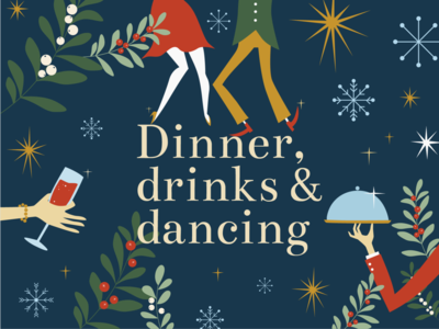 Christmas party poster! dinner holidays office party mistletoe snow winter stars dancing poster christmas design vector brand illustration colours