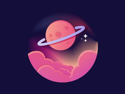 Planet galaxy stars cloud planet purple space cartoon conceptual icon design vector badge illustrator illustration