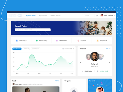 Dashboard dashboad rewards web design quote chart insurance policy website web flat interface clean ui ux