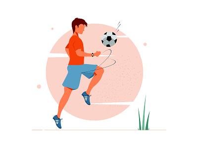 Sport Illustration sports design shoes illustration art illustrator sport ball shoe playing football vector flat illustration