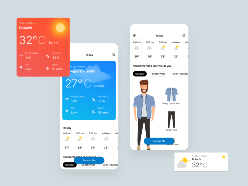 Weather App mobile ui card forecast weather app mobile app vector illustration flat minimal clean design ui