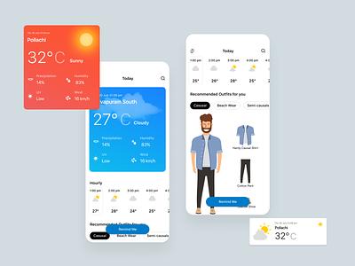 Weather App mobile ui card forecast weather app mobile app vector illustration flat minimal clean design ui