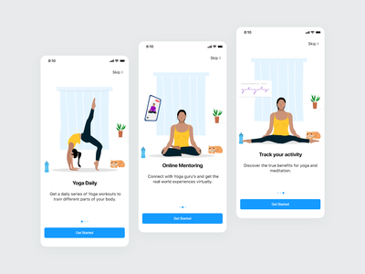 Yoga App mobile app clean vector mobile ui illustration flat interface minimal design ui