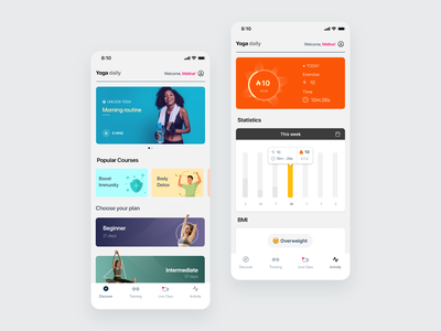 Yoga app mobile ui mobile app yoga clean vector interface minimal design ux ui