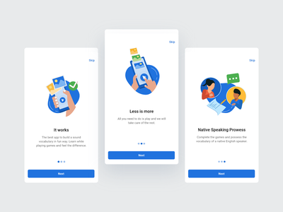 Onboarding Screens mobile ui illustration flat interface minimal clean design ux vocabulary game ui android app