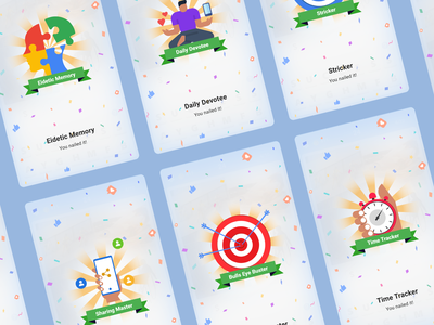 Gamifications design minimal interface mobile ui badges flat illustration clean ui app game android app