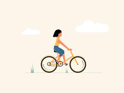 Girl Cycling cycling wind cloud girl illustration illustraion ride girl cycle vector illustration flat