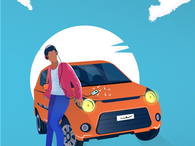 Car playing headset flat cloud vector music car random illustration