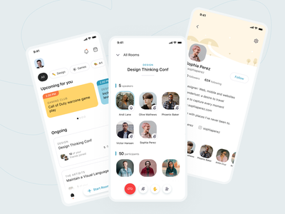 Social Media App mobile ui flat interface minimal clean design ux ui