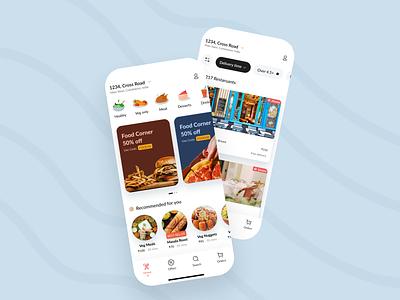 Food app app food mobile ui flat interface minimal clean design ux ui