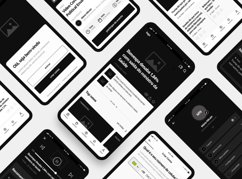 Finance App - Market News | Wireframe uberlândia scribble ux ui wireframe sketch design b3 noticias newsfeed newsletter newspaper news app news data financial brazil bloomberg analysis adobexd