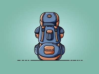 Backpack backpacking vacation tourist trekking backpack icon vector flat