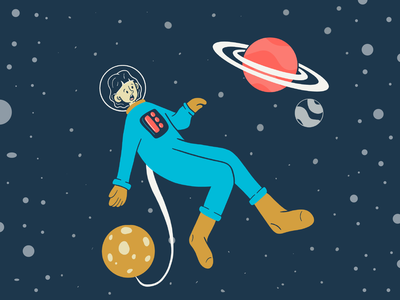 Floating in Space procreate design limited color flat illustration space stars planets astronaut