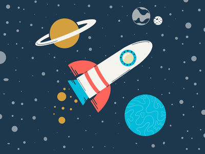 Rocketship outerspace stars spaceship rocketship astronaut procreate planets design space limited color flat illustration