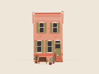 Row Home row home philadelphia procreate limited color flat illustration