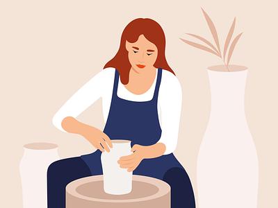 Trending hobby pastel pottery ceramics vector girl flatillustration flat ipadpro minimal illustration