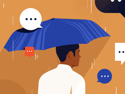 Linkedin messaging block linkedin rain chat messages flat minimal illustration