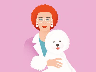 Lady with Bichon vector portrait pink red lady dog bichon flatillustration flat minimal illustration
