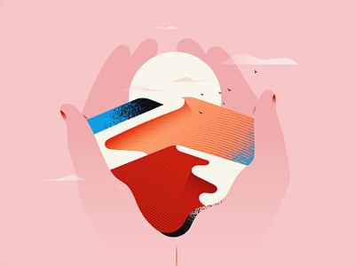 Water me holding pink sun desert flatillustration flat minimal illustration