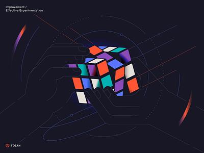 Tozan   Linkedin post illustration linkedin hands tech gradient flatillustration challenge strategy rubiks cube experiment technology lineart minimal illustration