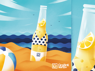 Recycling campaign beer lemon sunny recycle beach summer glass bottle