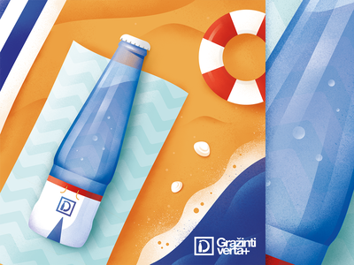 Recycling campaign minimal sun beach summer illustration hoegaarden beer bottle glass