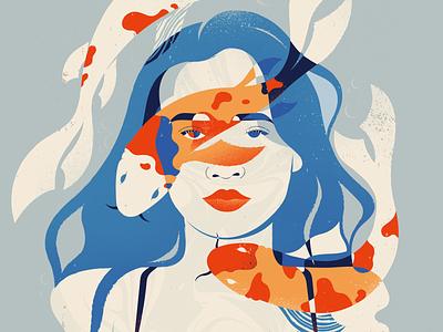 Aqua portrait blue sea underwater fish water girl ipadpro flatillustration flat minimal illustration