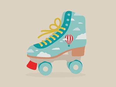Ready Steady Go rollerskate clouds airballoon flatillustration flat ipadpro minimal illustration