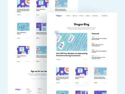 Shogun Blog– Design web design ecommerce blog blog design clean illustration landing page saas