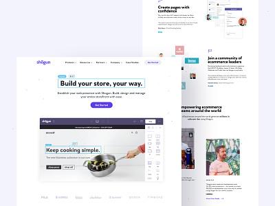 Shogun Homepage– Design clean ecommerce homepage product page product branding saas design landing page saas