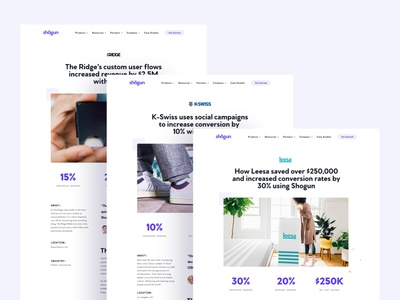 Shogun Case Studies— Design template casestudy case studies clean ecommerce landing page saas