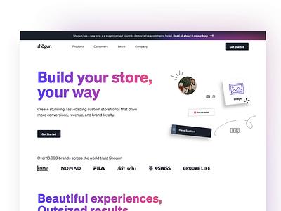 Shogun Homepage — Design saas landing page ecommerce