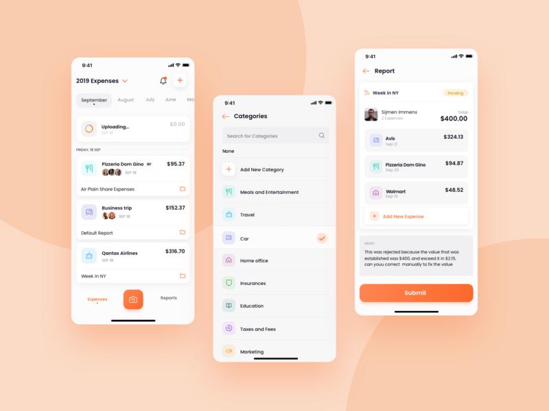 Expense Management App icons light ux reports app design management receipts office smart scan expenses purple ui uiux clean 2d orange