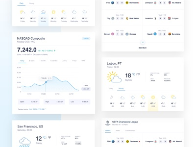 Private Search Engine Widgets stock market search search results uidesign browse football weather weather forecast widgets light clean uiux privacy private search engine blue