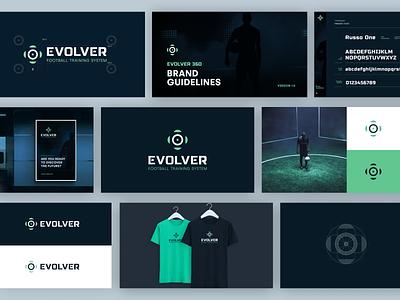 Evolver 360 Branding vector 2d innovation clean dark brand identity soccer green blue tech pitch ledwall system training football branding logo