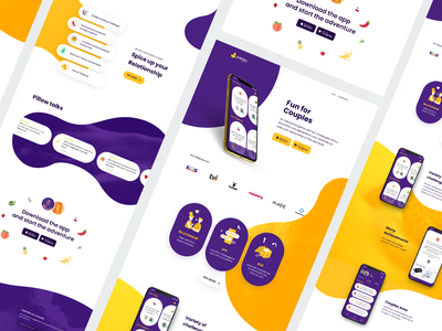 Pleasy Play Website illustration webdesign kinky fun sensual toys sensual toys fruit uiux ui challenges sexy sex fun for couples box spicy relationship couples pleasure yellow purple