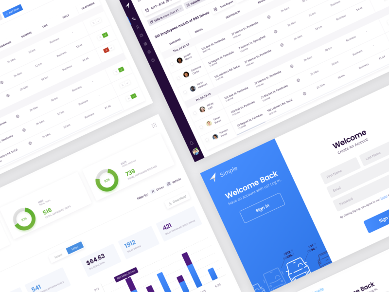 Simple - Mileage Tracking Dashboard blue 2d web digital dashboard uber saas ux ui uidesign uiux
