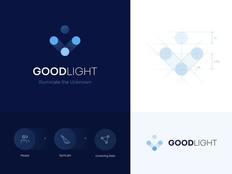 Goodlight Branding branding and identity 2d platform media stats minimal workforce risk clean light blue branding logo